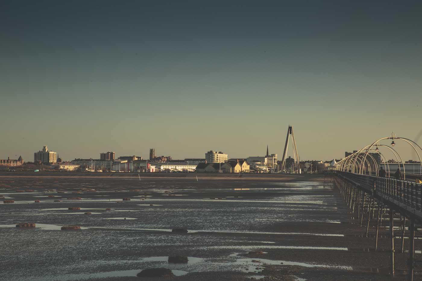 southport skyline, pier, sun