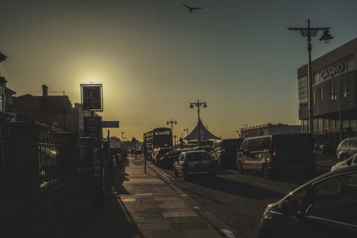 southport , streets, cars, traffic, sun