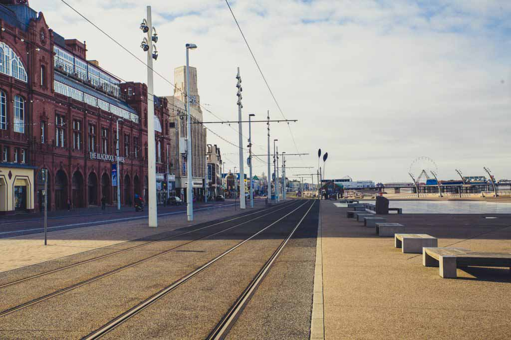 entrance to Blackpool Tower, tram lines